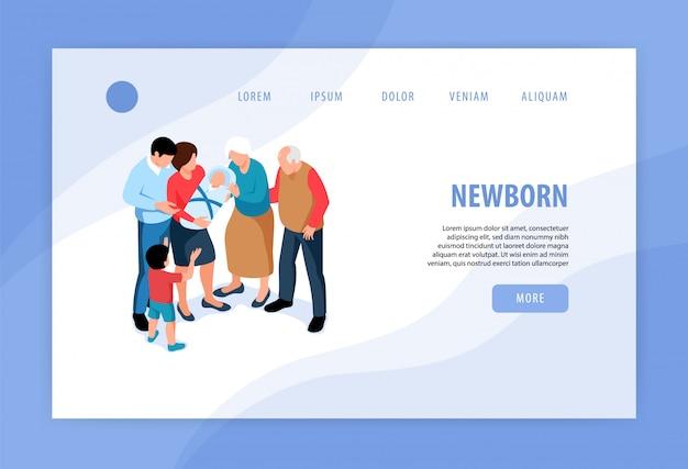 Crianças crianças novos irmãos conceito isométrica web banner design com boas-vindas ao bebê recém-nascido em família Vetor grátis