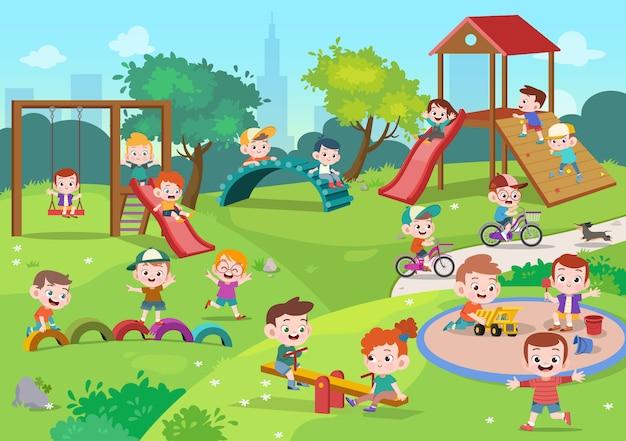 Crianças crianças, tocando, pátio recreio, ilustração Vetor Premium