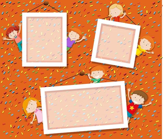 Crianças, cute, foto, quadro Vetor grátis