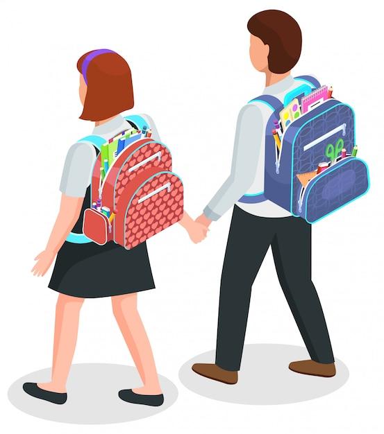 Crianças da escola com mochilas, menino e menina em unifrm Vetor Premium