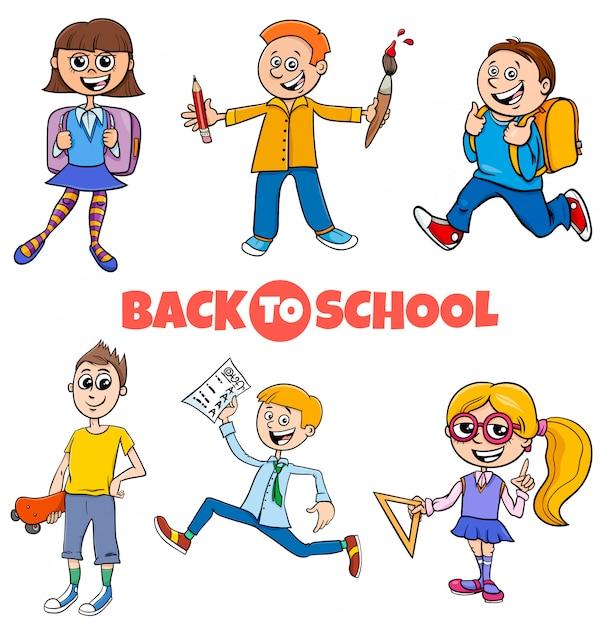 Crianças de alunos volta ao conjunto de desenhos animados de escola Vetor Premium