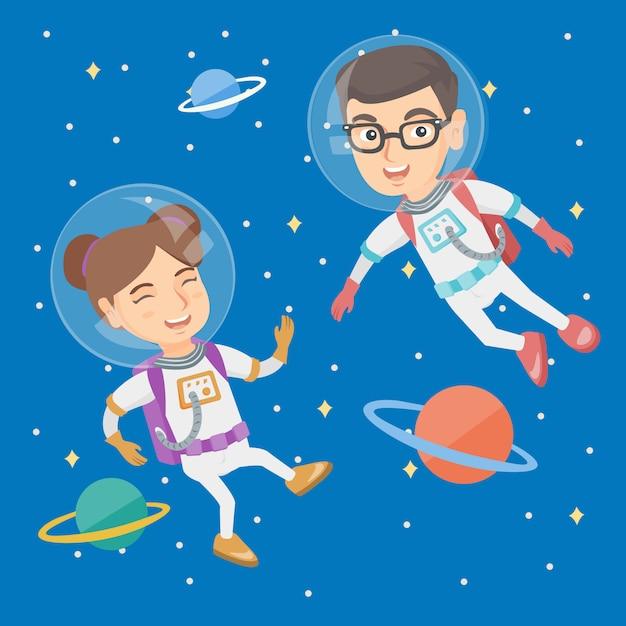 Crianças de astronauta caucasiano em ternos voando no espaço. Vetor Premium