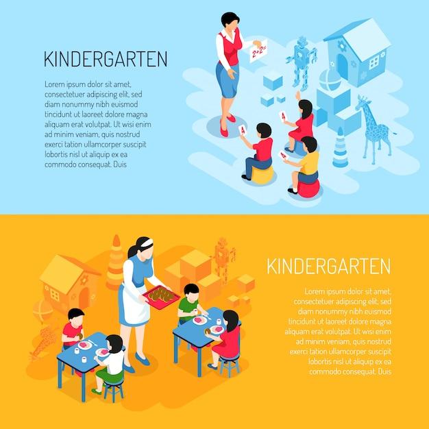 Crianças de banners isométrica do jardim de infância durante comer e aprender a contar na laranja azul isolada Vetor grátis