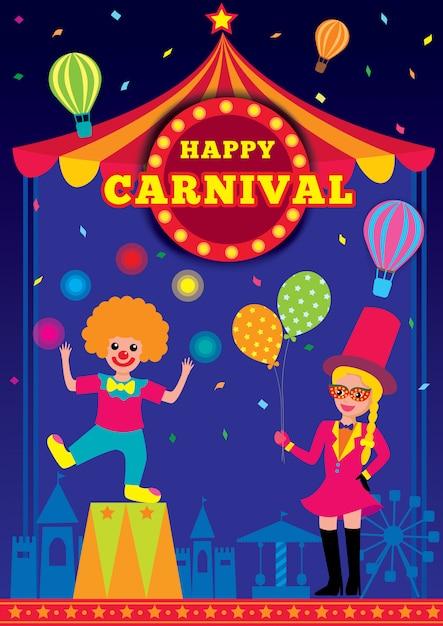 Crianças de carnaval Vetor Premium