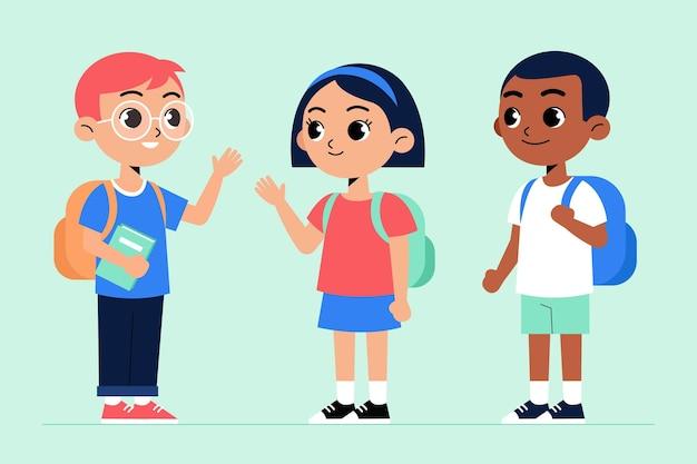 Crianças de design plano volta ao conceito de escola Vetor grátis