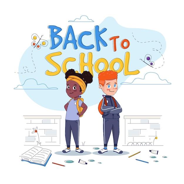 Crianças de design plano volta para ilustração de escola Vetor grátis