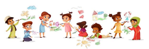 Crianças, de, diferente, nacionalidade, desenho, quadros, com, lápis giz, ilustração Vetor grátis