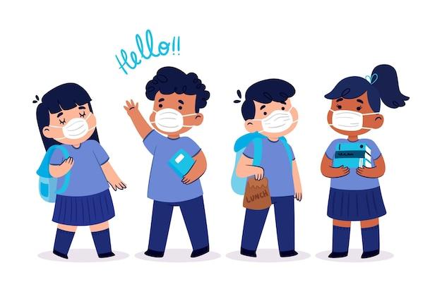 Crianças de ilustração design plano volta às aulas Vetor grátis