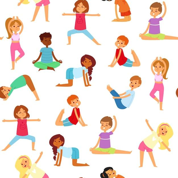 Crianças de ioga padrão sem emenda, meninos e meninas fazem esportes, aptidão saudável, ilustração, em branco. estilo de vida ativo, ginástica para crianças fofas e felizes, treino. Vetor Premium