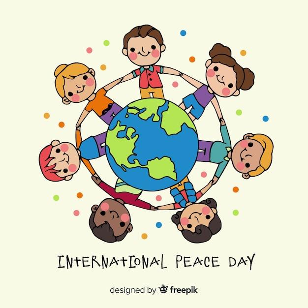 Crianças de mãos dadas ao redor do mundo Vetor grátis