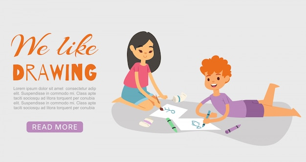 Crianças de sorriso felizes que tiram, pintam e colorem com pastéis e ilustração da escova. menino deitado e menina sentada no chão com desenho. as crianças gostam de desenhar. Vetor Premium