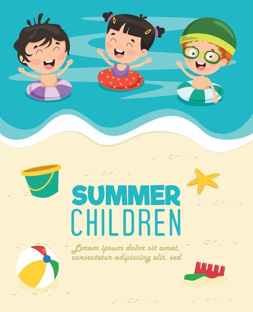 Crianças de verão Vetor Premium