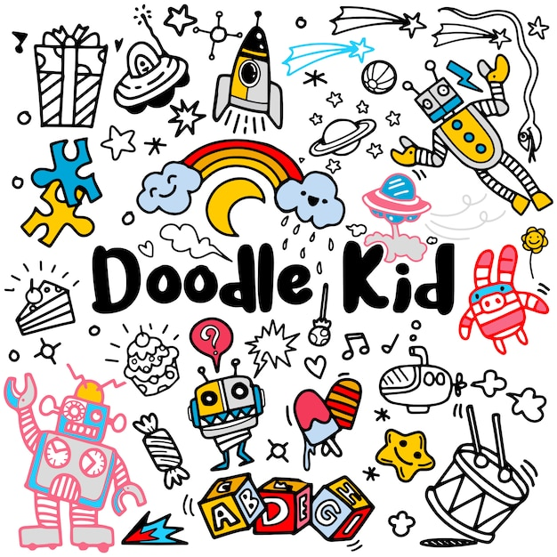 Crianças desenhadas mão doodle conjunto, estilo doodle, ilustração vetorial Vetor Premium