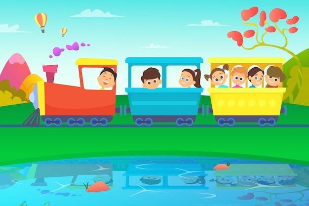 Crianças dirigindo um trem no mundo de conto de fadas Vetor Premium
