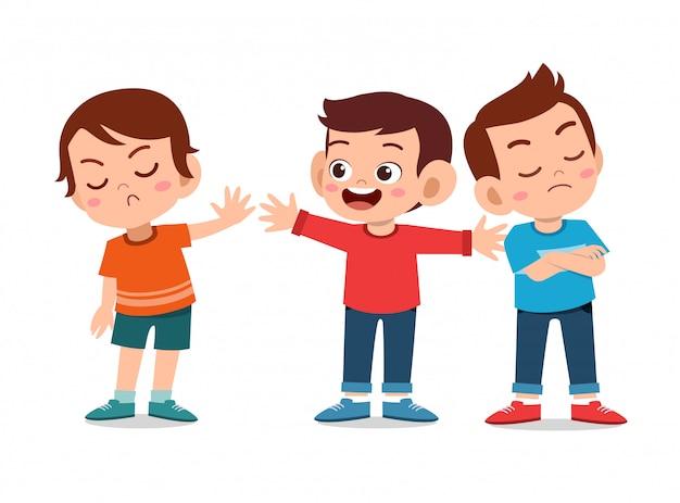 Crianças discutem briga com amigo Vetor Premium