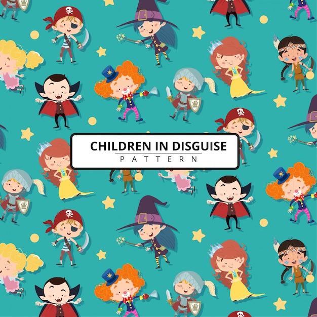 Crianças, disfarce, motivo, ou, padrão, fundo Vetor Premium