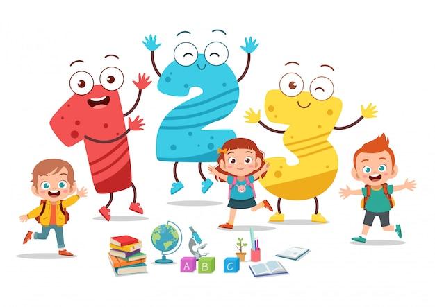 Crianças dos desenhos animados com 123 números Vetor Premium