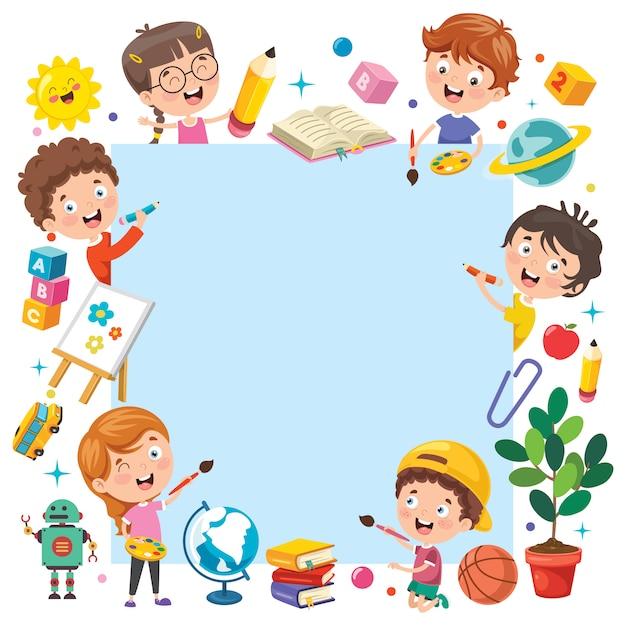Criancas Dos Desenhos Animados Com Uma Moldura Vetor Premium