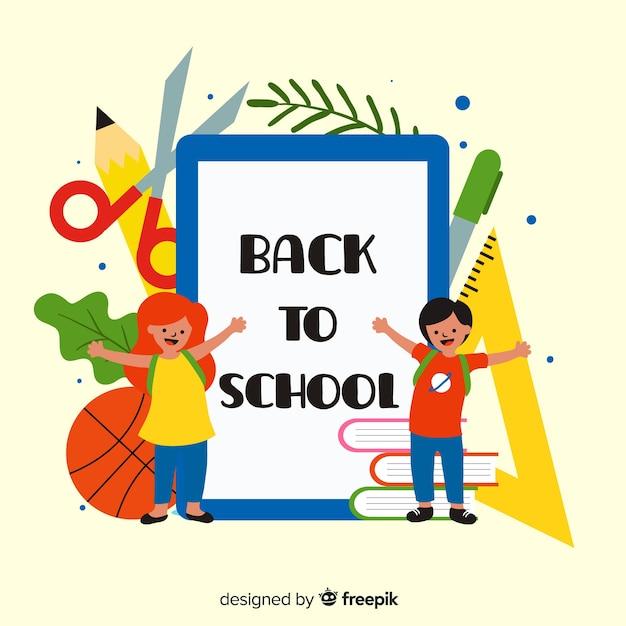 Crianças dos desenhos animados de volta à escola Vetor grátis