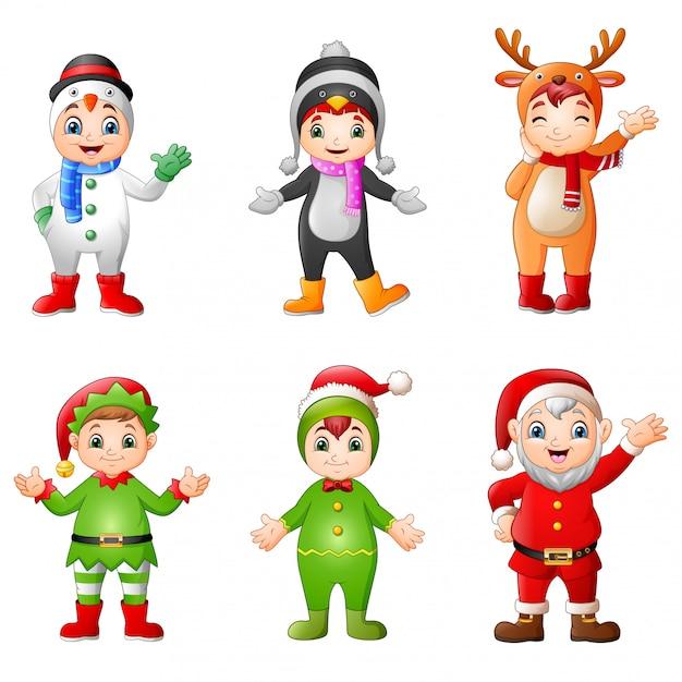 Crianças dos desenhos animados, vestindo fantasia de natal Vetor Premium