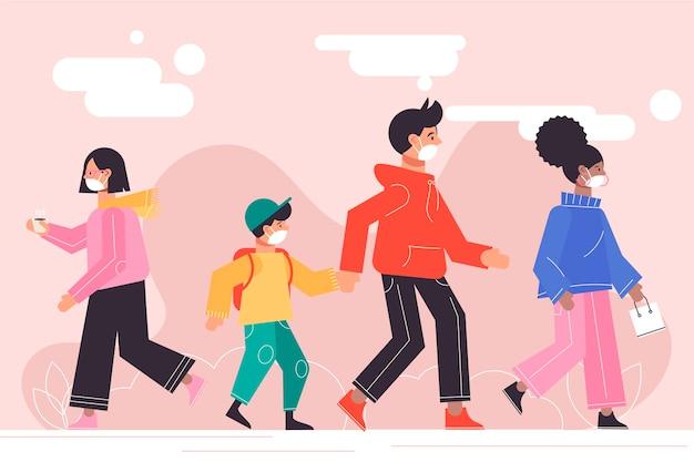Crianças e adultos usando máscaras caminhando ao ar livre Vetor grátis