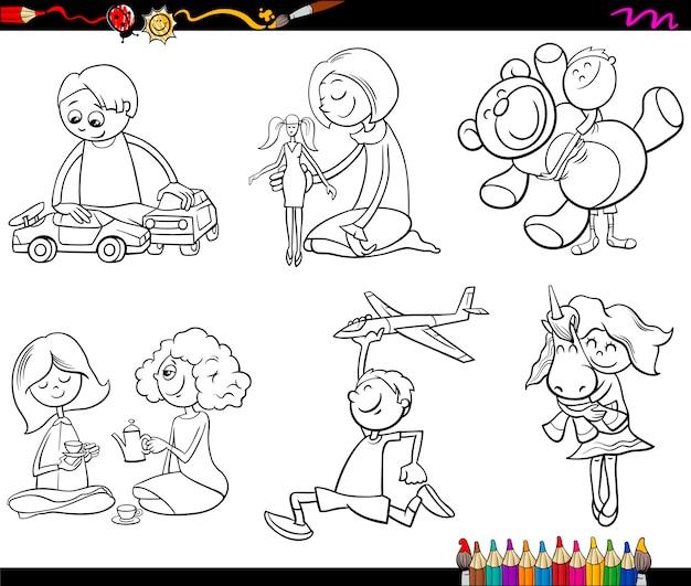 Criancas E Brinquedos Para Colorir Vetor Premium