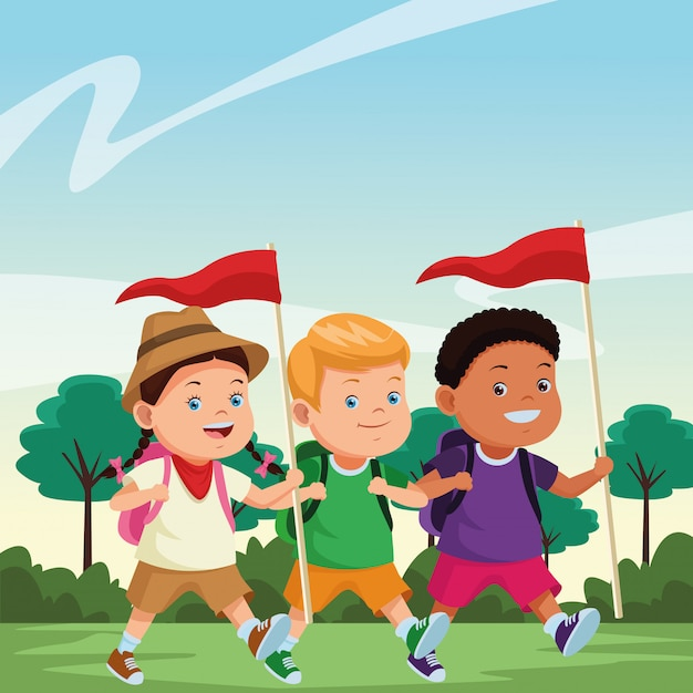 Crianças e cartoons de acampamento de verão Vetor grátis