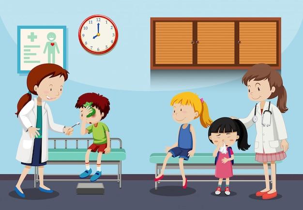Crianças e médicos na clínica Vetor Premium