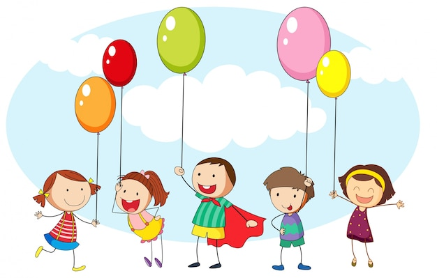 Crianças e muitos balões coloridos Vetor grátis