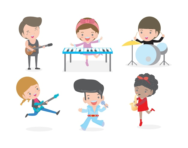 Crianças e música, crianças tocando música isolada no fundo branco. Vetor Premium