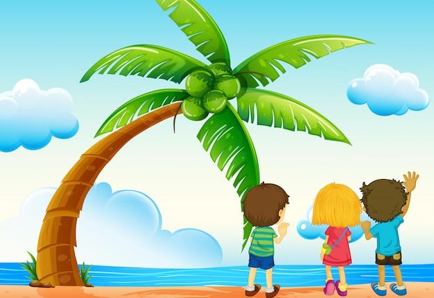 Crianças e praia Vetor grátis