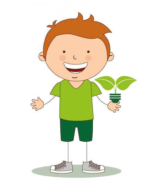 Crianças ecológicas Vetor Premium