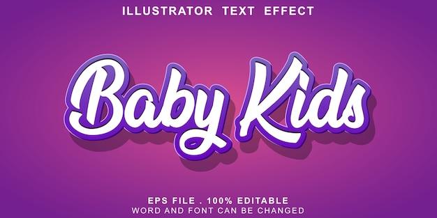 Crianças editáveis do bebê do efeito de texto Vetor Premium