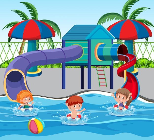 Crianças, em, a, parque água Vetor Premium