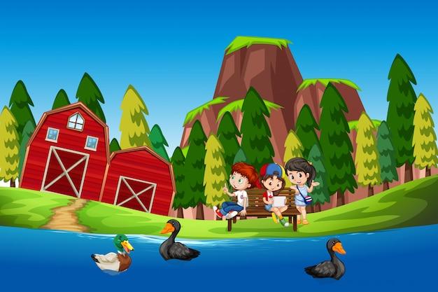 Crianças, em, a, pato, lagoa Vetor grátis