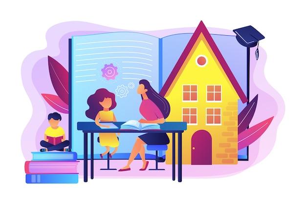 Crianças em casa com tutor ou pais recebendo educação, pessoas minúsculas. educação em casa, plano de educação em casa, conceito de tutor online de educação em casa. Vetor grátis