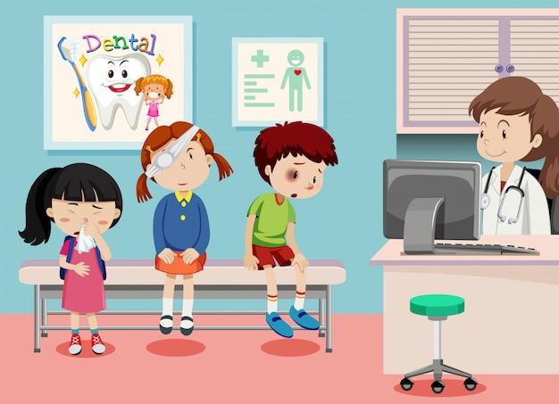 Crianças, em, clínica médica Vetor grátis