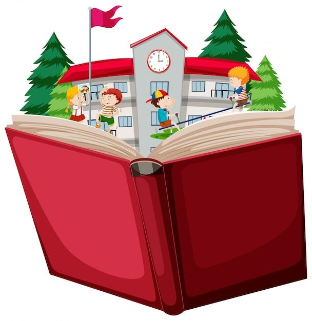 Crianças, em, escola, livro aberto Vetor grátis