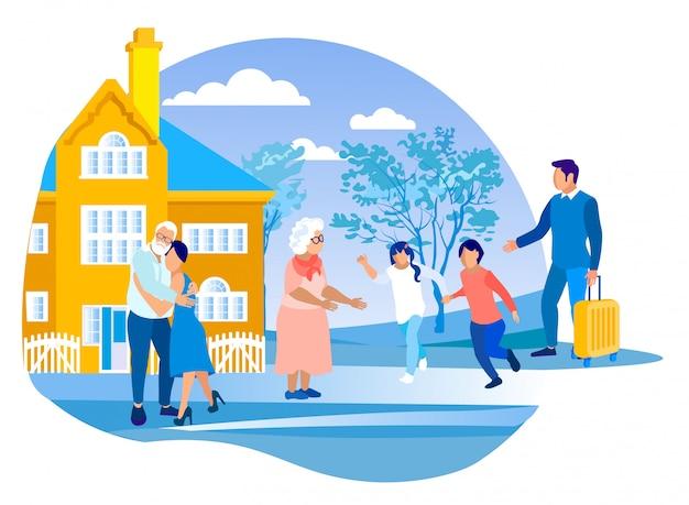 Crianças em férias de verão na casa dos avós Vetor Premium