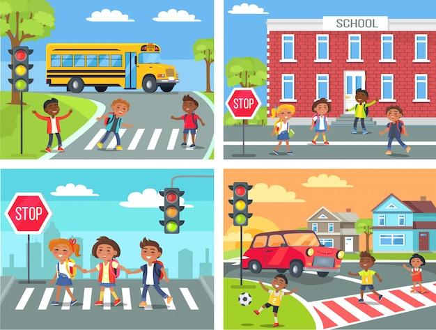 Crianças em idade escolar cross road em travessia de pedestres Vetor Premium