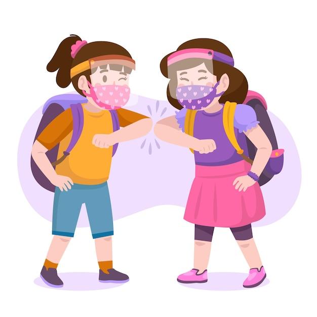 Crianças em idade escolar cumprimentando no novo normal Vetor Premium