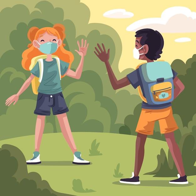Crianças em idade escolar cumprimentando no novo normal Vetor grátis