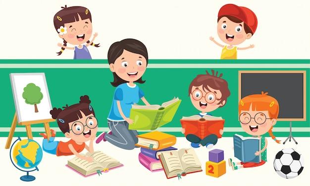 Crianças em idade escolar estudando e aprendendo Vetor Premium