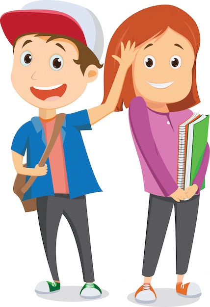 Crianças em idade escolar feliz indo para a escola e acenando adeus. de volta ao conceito de escola Vetor Premium