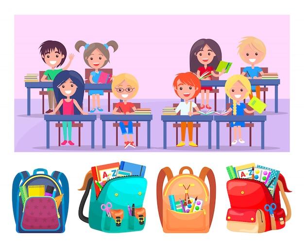 Crianças em idade escolar feliz sentado na mesa, shcoolbags Vetor Premium