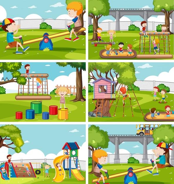 Crianças, em, jogo playground Vetor Premium