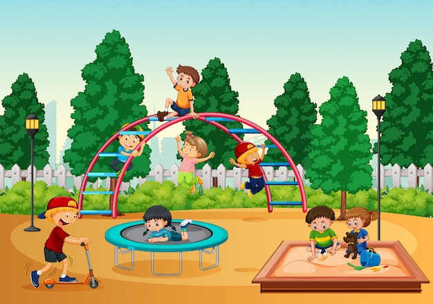 Crianças, em, playgrond, cena Vetor grátis