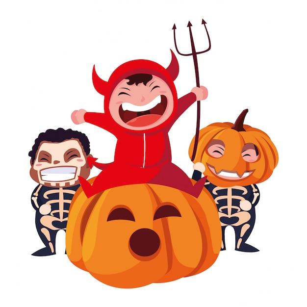 Crianças em trajes de halloween Vetor Premium