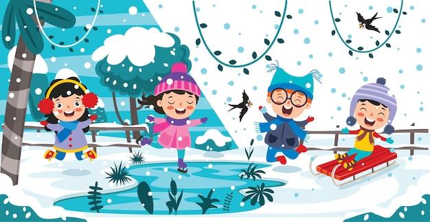 Crianças engraçadas se divertindo no inverno Vetor Premium