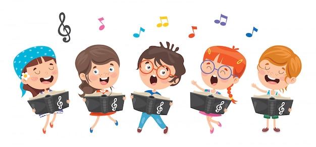 Crianças engraçadas tocando música Vetor Premium